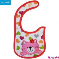 پیشبند پارچه ای 3 لایه نوزاد و کودک گربه کارترز carters