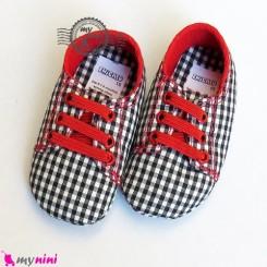 کفش پسرانه چهارخانه سُرمه ای Baby shoes