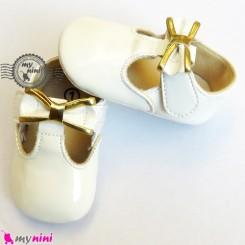 کفش نوزاد و کودک سفید طلایی Baby footwear