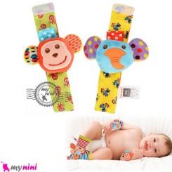 مچبند جغجغه ای نوزاد فیل و میمون Skk baby wrist rattles