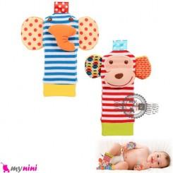 پاپوش جغجغه ای نوزاد فیل و میمون Skk baby foot rattles