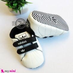 کفش اسپُرت نوزاد و کودک آدیداس سفید مشکی Baby footwear