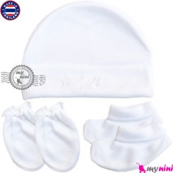 کلاه دستکش پاپوش پنبه ای تایلندی آی لاو یو Newborn cotton set