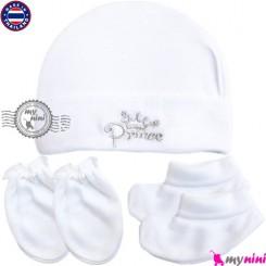 کلاه دستکش پاپوش پنبه ای تایلندی Newborn cotton set