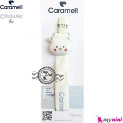 بند پستانک کارامل عروسکی لُپ گلی سفید آبی Caramell baby pacifier holder