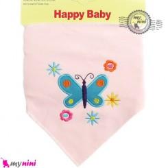 دستمال گردن نوزاد و کودک 2 لایه پروانه Baby Triangle cotton bibs