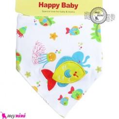 دستمال گردن نوزاد و کودک 2 لایه ماهی Baby Triangle cotton bibs