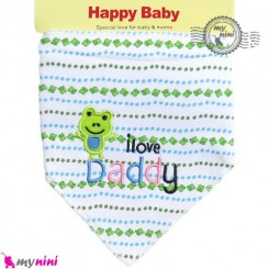 دستمال گردن نوزاد و کودک 2 لایه قورباغه Baby Triangle cotton bibs
