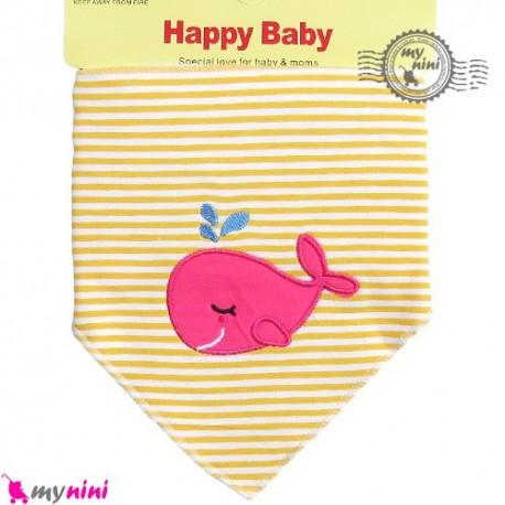 دستمال گردن نوزاد و کودک 2 لایه نهنگ Baby Triangle cotton bibs