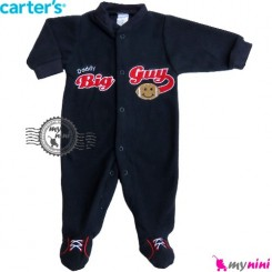 سرهمی مخمل اسپُرت سُرمه ای کارترز Carter's warm sleepsuit