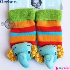 پاپوش مخمل جغجغه ای فیل مارک گِربِر Gerber baby warm socks