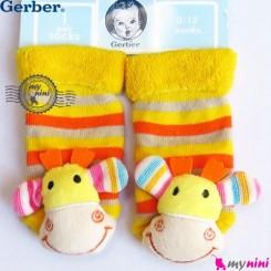 پاپوش مخمل جغجغه ای گوزن مارک گِربِر Gerber baby warm socks