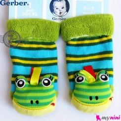 پاپوش مخمل جغجغه ای قورباغه مارک گِربِر Gerber baby warm socks
