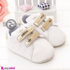 کفش اسپُرت نوزاد و کودک آدیداس سفید طلایی Baby footwear