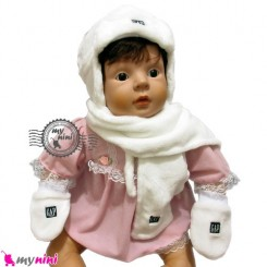 کلاه شال دستکش گرم سفید نوزاد و کودک Baby warm hat set