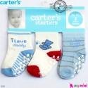 جوراب کارترز استُپ دار 3 عددی Carter's baby socks