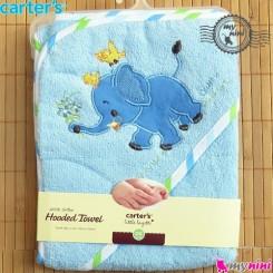 حوله کلاه دار کارترز نوزاد و کودک آبی فیل Carter's hooded towel