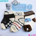 جوراب مخمل کارترز استُپ دار 3 عددی Carter's baby warm socks