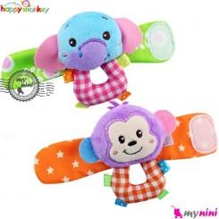 مچبند جغجغه ای نوزاد فیل و میمون هپی مانکی Happy Monkey wrist & ankle toys