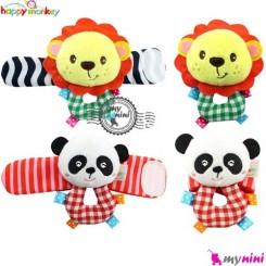 مچبند جغجغه ای نوزاد شیر و پاندا هپی مانکی Happy Monkey wrist & ankle toys