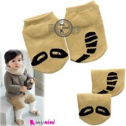 جوراب استُپ دار پنبه ای طرح راکون baby socks