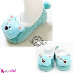 پاپوش مخمل عروسکی استُپ دار فیروزه ای خرس baby warm socks