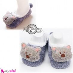 پاپوش مخمل عروسکی استُپ دار یاسی خرس baby warm socks