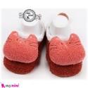 پاپوش مخمل عروسکی استُپ دار قرمز کیتی baby warm socks