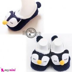 پاپوش مخمل عروسکی استُپ دار سُرمه ای پنگوئن baby warm socks