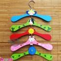 چوب لباسی چوبی کودک 5 عددی Wooden baby clothes hanger