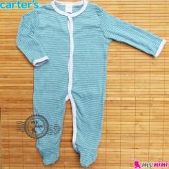 سرهمی کارترز پنبه ای سبز راه راه Carter's baby bodysuit