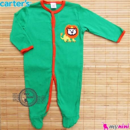 سرهمی کارترز پنبه ای سبز شیر Carter's baby bodysuit