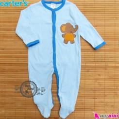 سرهمی کارترز پنبه ای آبی روشن فیل Carter's baby bodysuit