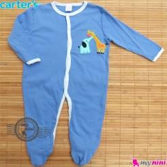 سرهمی کارترز پنبه ای آبی فیل و زرافه Carter's baby bodysuit