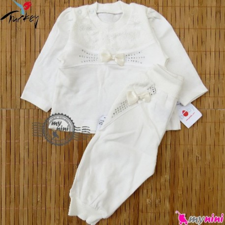 بلوز شلوار پنبه ای نوزاد و کودک تور و پاپیون دار ترکیه Turkish baby shirt and pants