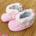 بوت خزدار نوزاد و کودک صورتی استُپ دار Baby warm footwear