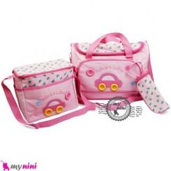 ساک لوازم نوزاد 4 تکه ماشین صورتی Cute Car baby diaper bag 4pcs