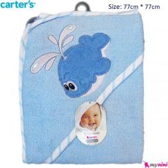 حوله کلاه دار نوزاد و کودک آبی نهنگ کارترز Carter's Towel