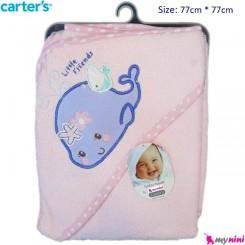 حوله کلاه دار نوزاد و کودک صورتی نهنگ کارترز Carter's Towel
