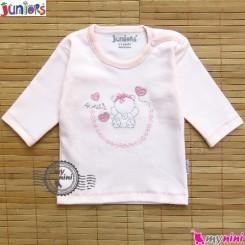 بلوز آستین بلند پنبه ای صورتی جونیورز Juniors baby pink shirt