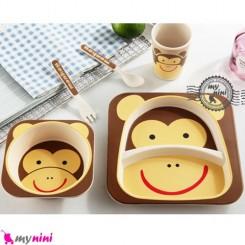 ست غذاخوری بامبو 5 تکه میمون Bamboo fiber kids set