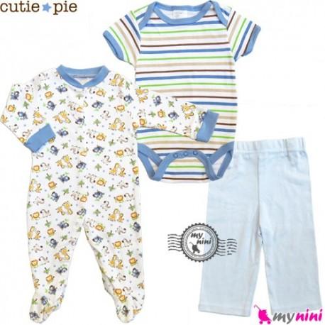 ست لباس پنبه ای 3 تکه حیوانات Cutie Pie baby clothes