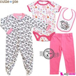 ست لباس پنبه ای صورتی گلدار 4 تکه Cutie Pie baby clothes
