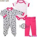 ست لباس پنبه ای 3 تکه سرخابی خالدار Cutie Pie baby clothes