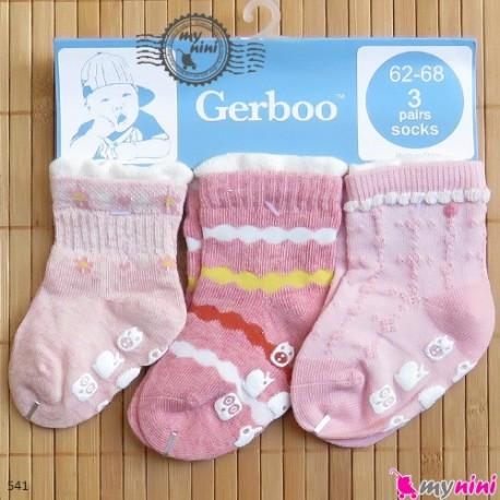 جوراب استُپ دار 3 عددی مارک گِربو Gerboo baby socks
