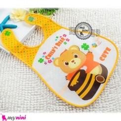 پیشبند نایلونی جیب دار خرس و عسل Baby waterproof bib