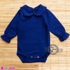 بلوز زیردکمه دار مجلسی یقه ب ب سُرمه ای Baby long sleeve bodysuits