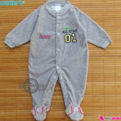 سرهمی مخمل اسپُرت طوسی کارترز Carter's warm sleepsuit