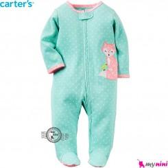 سرهمی پنبه ای کارترز سبز خالدار Carter's baby bodysuit