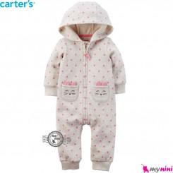 سرهمی کلاهدار توکُرکی طوسی خرگوش کارترز Carter's warm sleepsuit